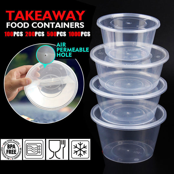 500 Pcs 800ml Take Away Food Platstic Containers Boxes Base and Lids Bulk Pack