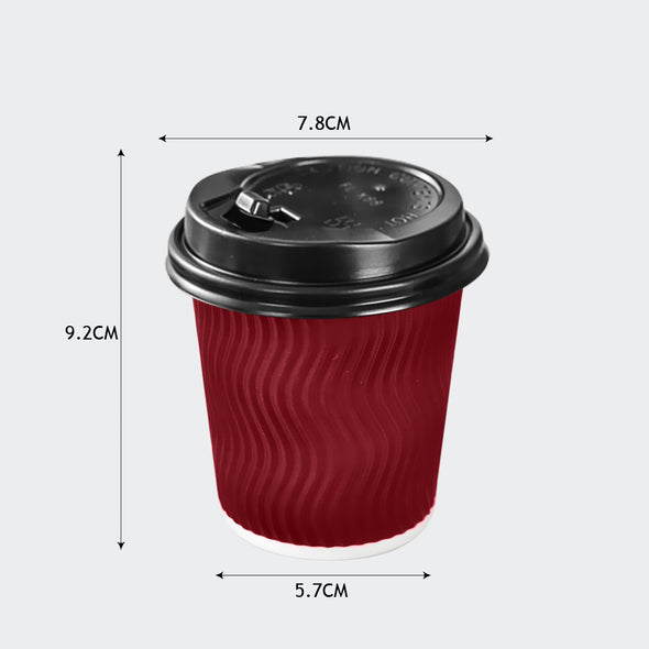 500 Pcs 12oz Disposable Takeaway Coffee Paper Cups Triple Wall Take Away w Lids
