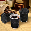 100 Pcs 12oz Disposable Takeaway Coffee Paper Cups Triple Wall Take Away w Lids