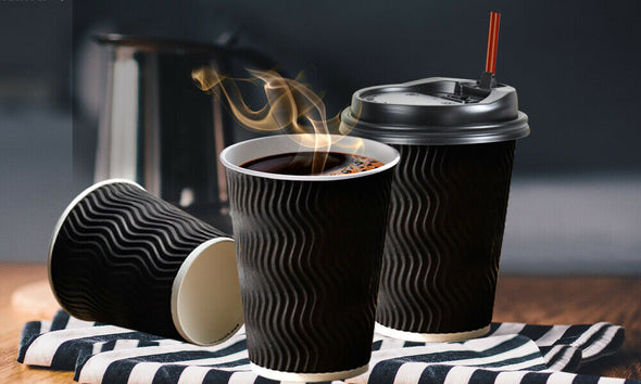 50 Pcs 16oz Disposable Takeaway Coffee Paper Cups Triple Wall Take Away w Lids