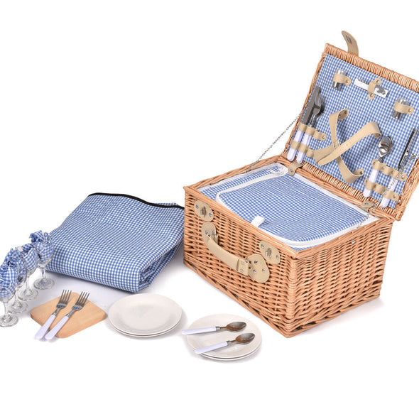 Deluxe 4 Person Picnic Basket Baskets Set Outdoor Corporate Blanket Park Trip