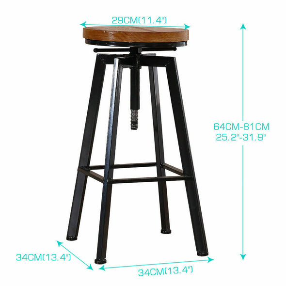 Levede 5pc Industrial Pub Table Bar Stools Wood Chair Set Home Kitchen Furniture