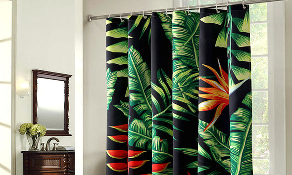 2 Pcs 180x180cm Palm Tree Print Waterproof Bathroom Shower Crutain with 12 Hooks