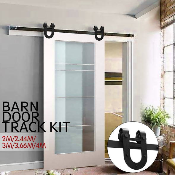 2.44M Antique Classic Style Single Sliding Barn Door Hardware Track Roller Kit