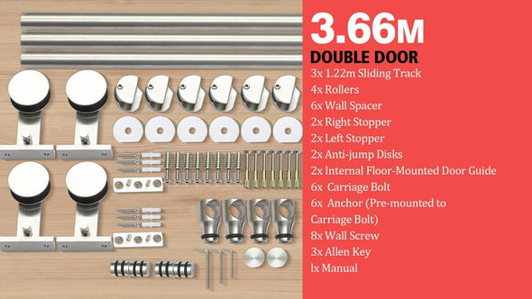 3.66M Antique Classic Style Double Sliding Barn Door Hardware Track Roller Kit
