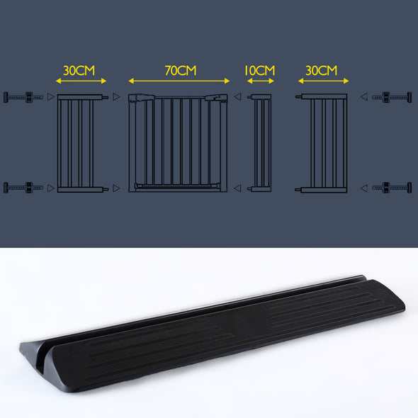Adjustable Baby Kids Pet Safety Security Gate Stair Barrier Support Ramp Black