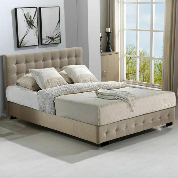 Levede Gas Lift Bed Frame Premium Fabric Base Mattress Storage King Size Beige