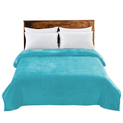 Teal Colour DreamZ 320GSM 220x240cm Ultra Soft Mink Blanket Warm Throw