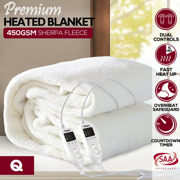DreamZ 450 GSM Fleecy Electric Blanket Heated Warm Winter Fitted Queen Size