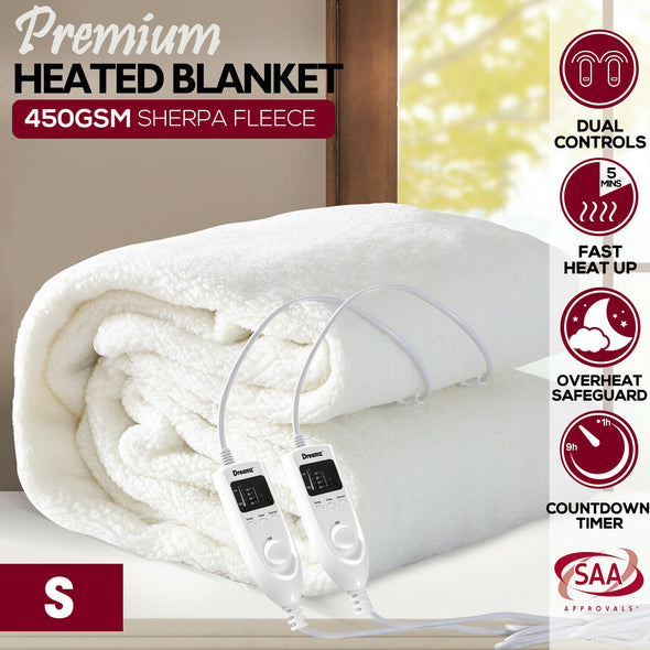 DreamZ 450 GSM Fleecy Electric Blanket Heated Warm Winter Fitted Single Size