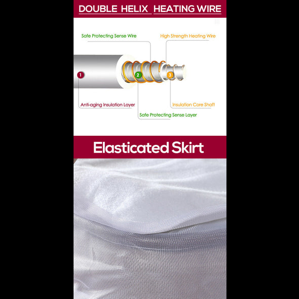 2x DreamZ 450 GSM Polyster Electric Blanket Heat Warm Winter Fitted King Size