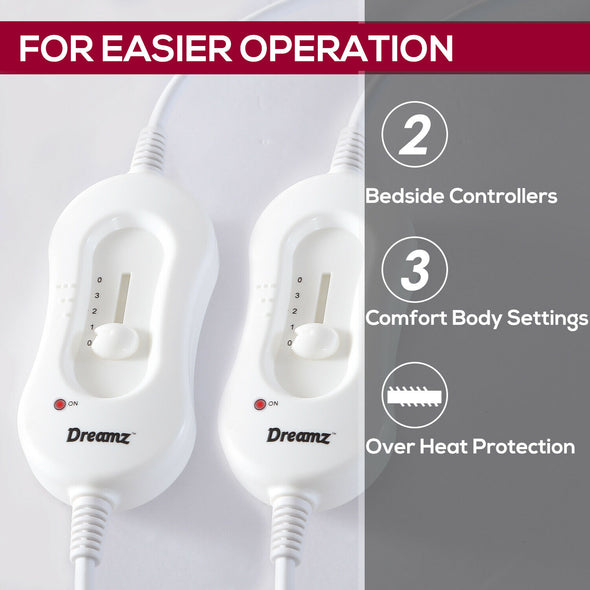 2x DreamZ 450 GSM Polyster Electric Blanket Heat Warm Winter Fitted Double Size