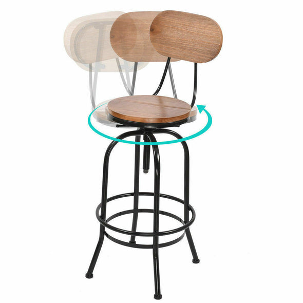 2x Levede Industrial Bar Stools Kitchen Stool Wooden Barstools Swivel Vintage