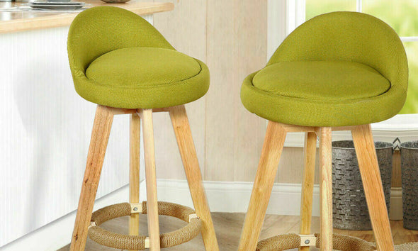 4x Levede Fabric Swivel Bar Stool Kitchen Stool Dining Chair Barstools Green