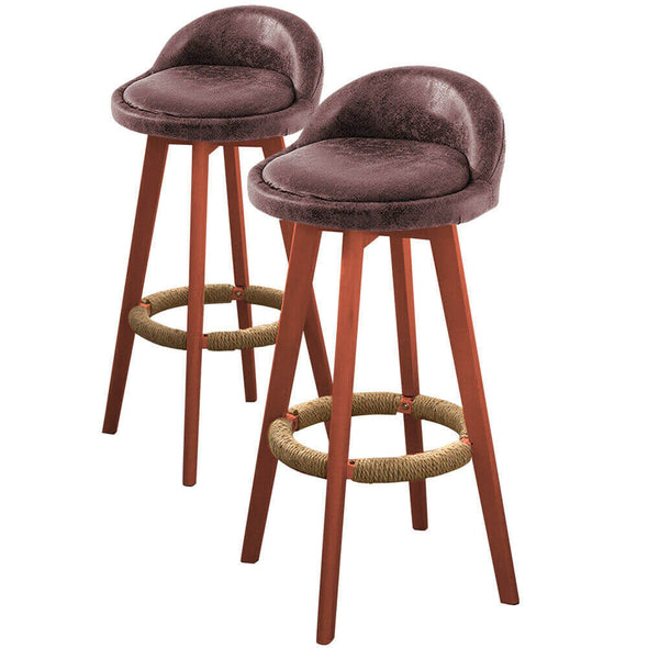 4x Levede Fabric Swivel Bar Stool Kitchen Stool Dining Chair Barstools Brown