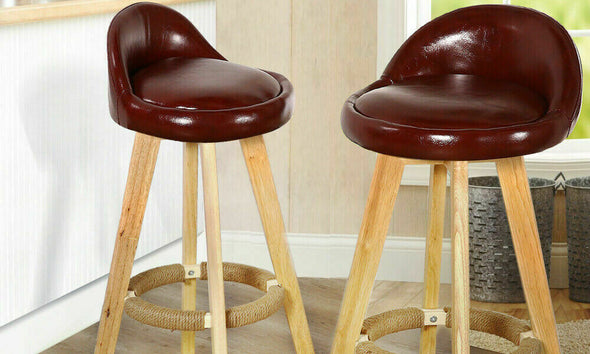 2x Levede Leather Swivel Bar Stool Kitchen Stool Dining Chair Barstools Brown