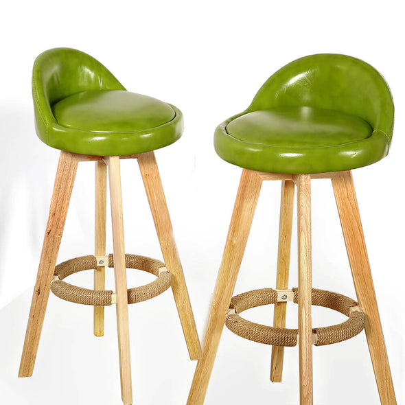 4x Levede Leather Swivel Bar Stool Kitchen Stool Dining Chair Barstools Green