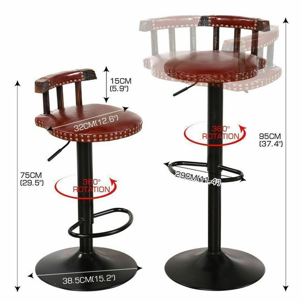 2x Levede Industrial Bar Stools Kitchen Stool Wooden Barstools Swivel Vintage BS