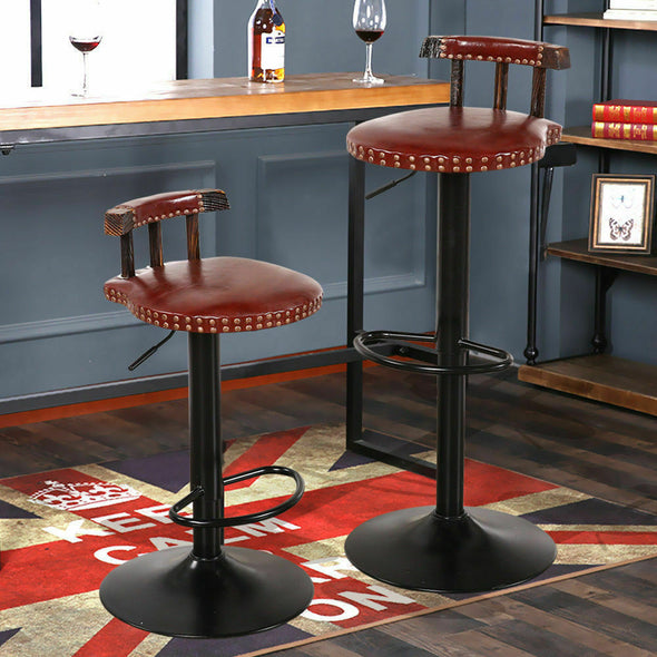 2x Levede Industrial Bar Stools Kitchen Stool Wooden Barstools Swivel Vintage CR