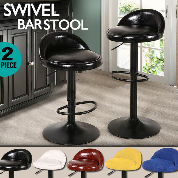 2x Levede Leather Swivel Bar Stools Barstool Kitchen Stool Gas Lift Dining Chair