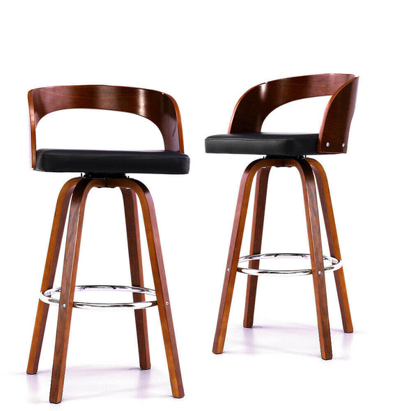 2x Levede Wooden Bar Stools Swivel Barstool Kitchen Stool Dining Chairs Wood