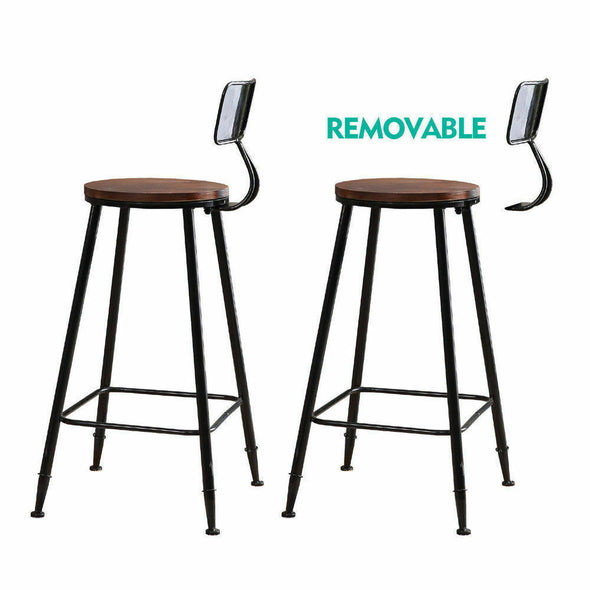 2x Levede Industrial Bar Stool Kitchen Stool Barstools Dining Chair High Back