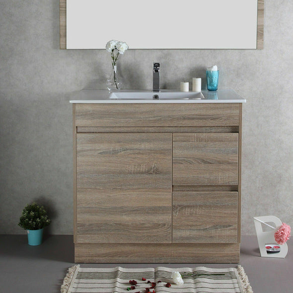 Aulic Finger Pull Bathroom Toilet Vanity Basin Storage Cabinet 900mm Ceramic Top