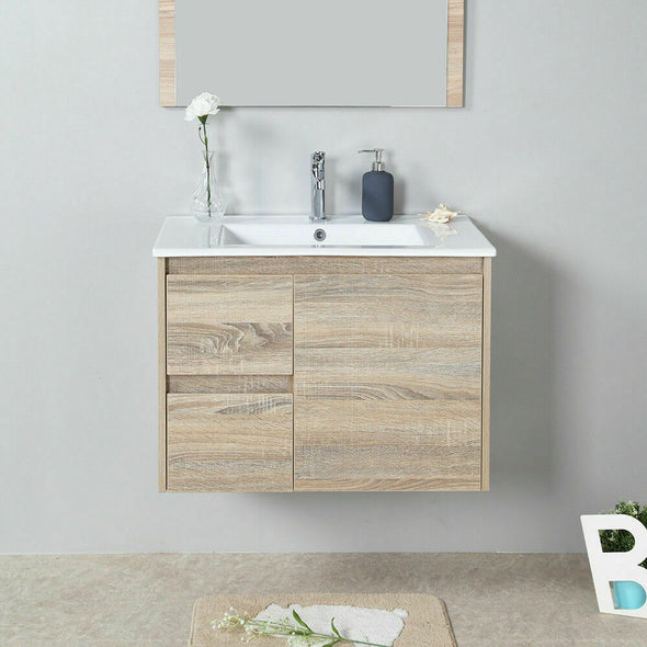 Wall Hung Bathroom Toilet Vanity Basin Storage Cabinet 750mm Stone Top