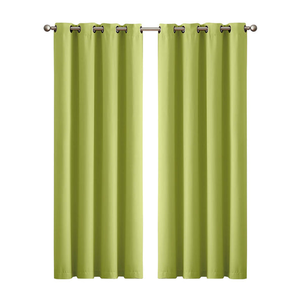 2x Blockout Curtains Panels 3 Layers Eyelet Room Darkening 140x230cm Avocado