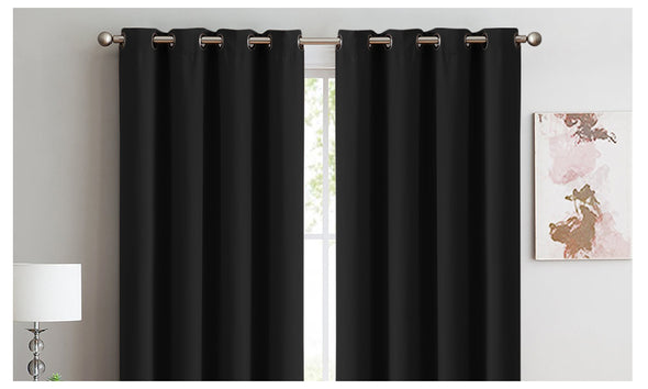 2x Blockout Curtains Panels 3 Layers Eyelet Room Darkening 300x230cm Black