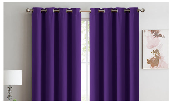2x Blockout Curtains Panels 3 Layers Eyelet Room Darkening 180x230cm Purple