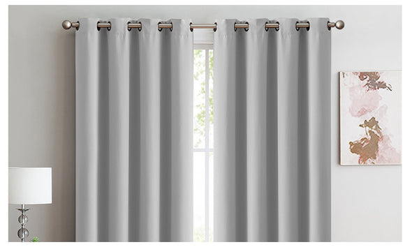2x Blockout Curtains Panels 3 Layers Eyelet Room Darkening 180x230cm Grey