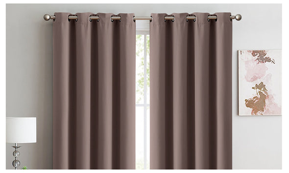 2x Blockout Curtains Panels 3 Layers Eyelet Room Darkening 240x230cm Taupe