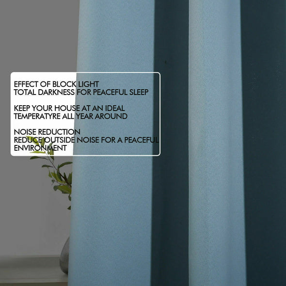 2x Blockout Curtains Panels 3 Layers Eyelet Room Darkening 300x230cm Green