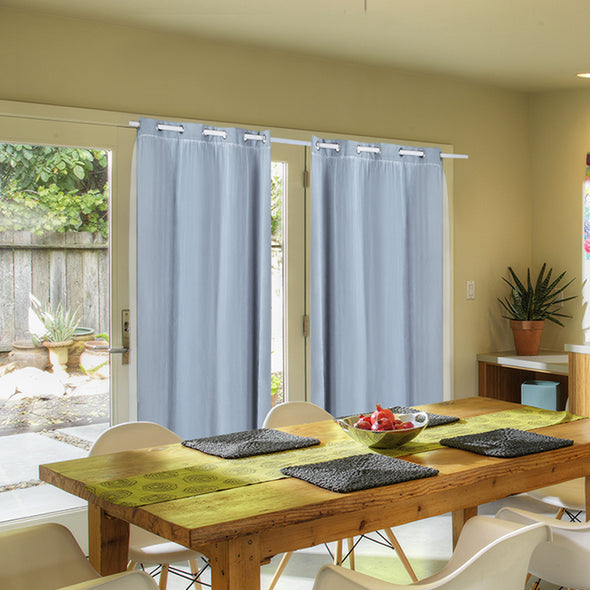 2x Blockout Curtains Panels 3 Layers with Gauze Room Darkening 180x230cm Aqua