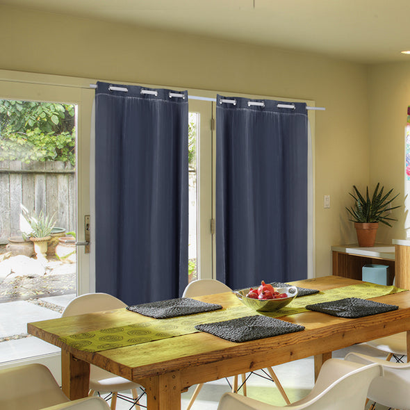 2x Blockout Curtains Panels 3 Layers with Gauze Room Darkening 140x244cm Black