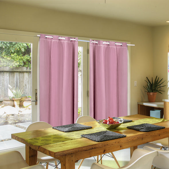 2x Blockout Curtains Panels 3 Layers with Gauze Room Darkening 140x244cm Rose