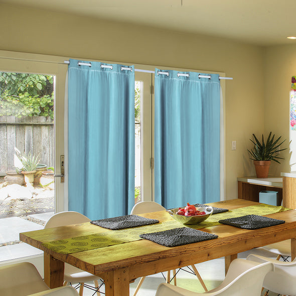 2x Blockout Curtains Panels 3 Layers with Gauze Darkening 180x213cm Turquoise
