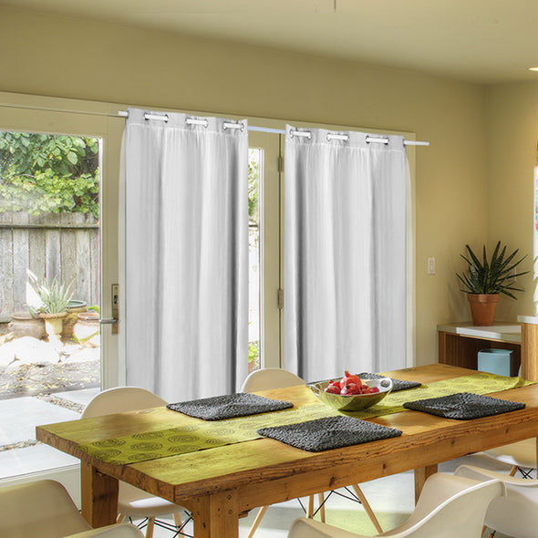 2x Blockout Curtains Panels 3 Layers with Gauze Room Darkening 140x160cm White