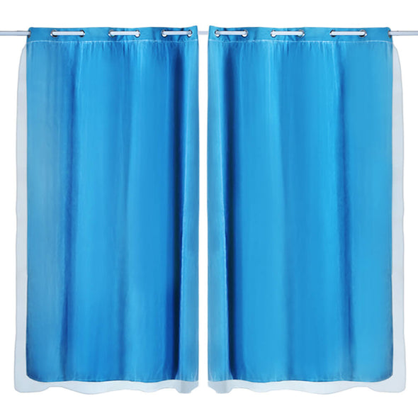 2x Blockout Curtains Panels 3 Layers with Gauze Darkening 240x213cm Turquoise