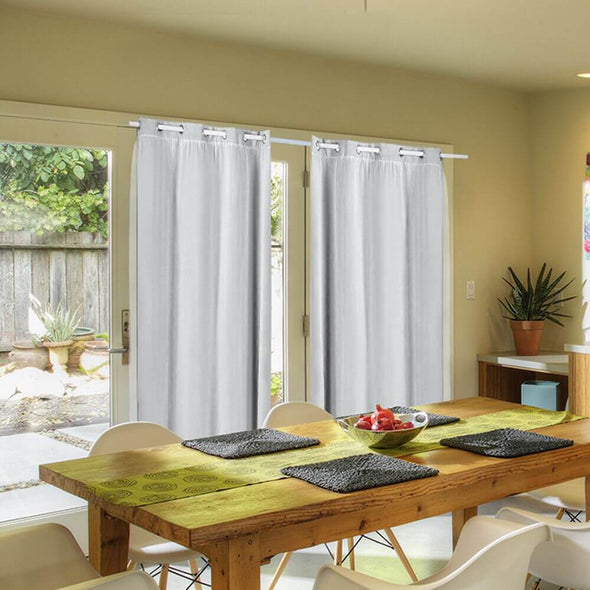 2x Blockout Curtains Panels 3 Layers with Gauze Room Darkening 240x230cm Grey