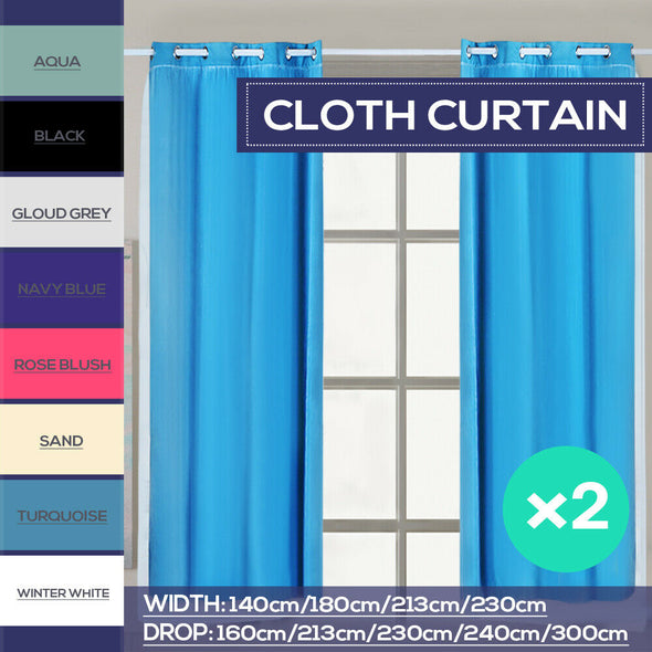 2x Blockout Curtains Panels 3 Layers with Gauze Room Darkening 140x213cm Navy