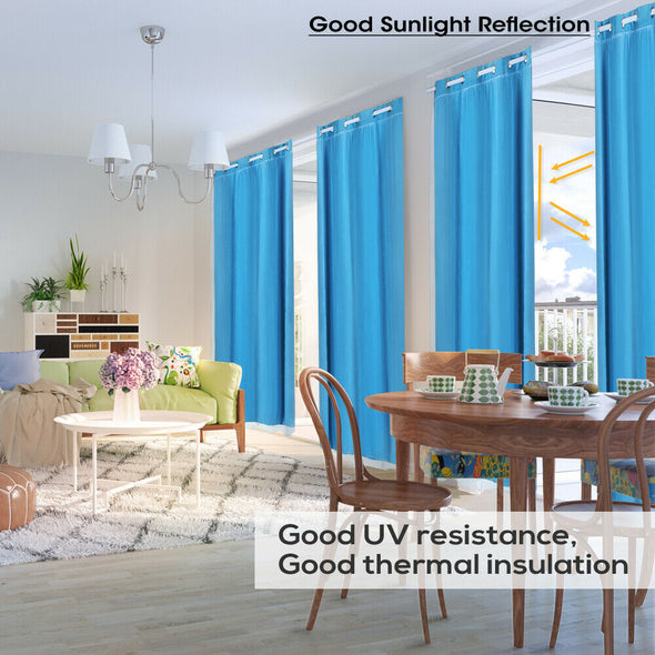 2x Blockout Curtains Panels 3 Layers with Gauze Room Darkening 140x160cm Aqua