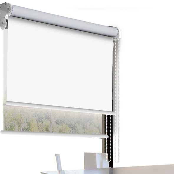 Modern Day/Night Double Roller Blinds Commercial Quality 60x210cm White White