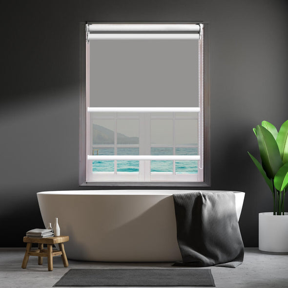 Modern Day/Night Double Roller Blinds Commercial Quality 90x210cm Albaster White