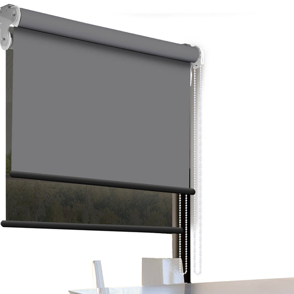 Modern Day/Night Double Roller Blinds Commercial Quality 90x210cm Charcoal Black