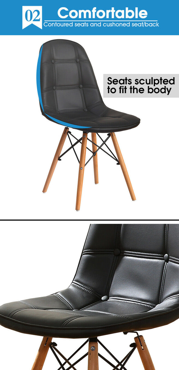 Levede 4x Retro Replica Eames PU Leather Dining Chair Office Cafe Lounge Chairs
