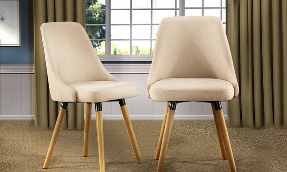 Levede 2x Upholstered Fabric Dining Chair Kitchen Wooden Modern Cafe Chairs