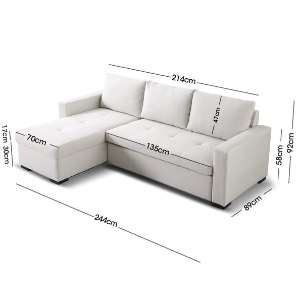 Levede 3-Seater Sofa Bed Set Storage Corner Futon Fabric Lounge Chaise Couch