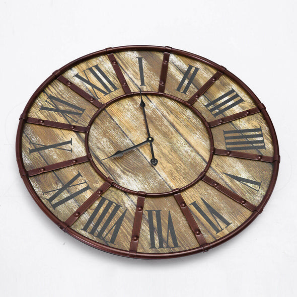 Rustic Vintage Large Wall Clock Roman Numerals Giant Open Face Metal Art 60cm